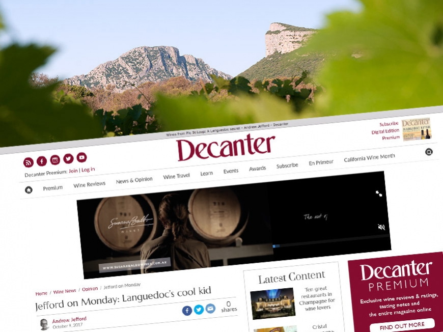 The Decanter newspaper wandering in Pic Saint Loup